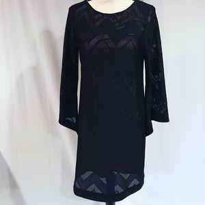 Emma & Michelle Black Lace Bell Sleeve Midi Dress